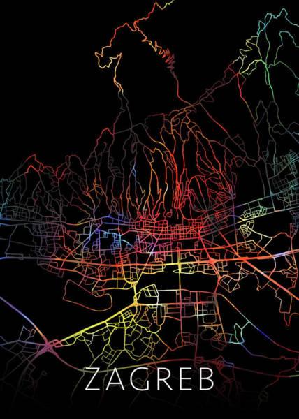 Wall Art - Mixed Media - Zagreb Croatia Watercolor City Street Map Dark Mode by Design Turnpike