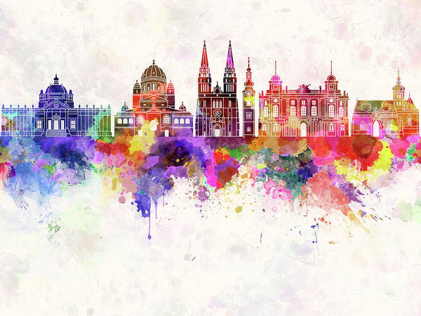 Croatia Painting - Zagreb Skyline In Watercolor Background by Pablo Romero