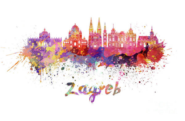Croatia Painting - Zagreb Skyline In Watercolor by Pablo Romero