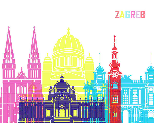 Wall Art - Painting - Zagreb Skyline Pop by Pablo Romero