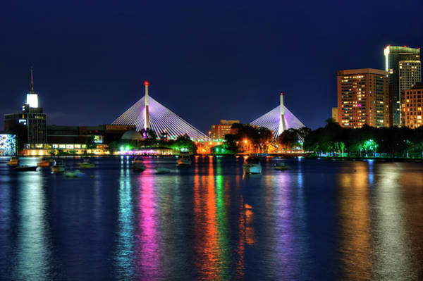 Photograph - Zakim Bride At Night - Boston, Ma by Joann Vitali