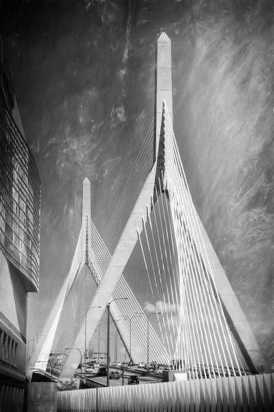 Wall Art - Photograph - Zakim Bridge Boston Massachusetts Black And White by Carol Japp