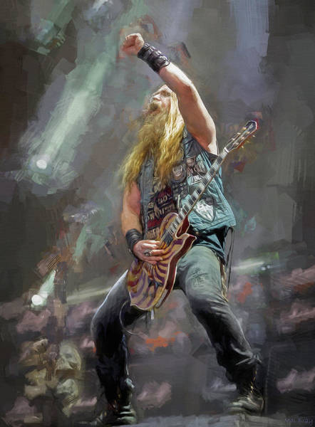 Wall Art - Mixed Media - Zakk Wylde, Guitarist by Mal Bray