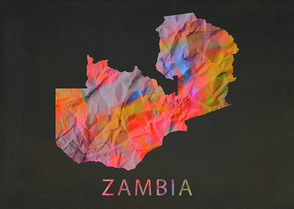 Wall Art - Mixed Media - Zambia Tie Dye Country Map by Design Turnpike