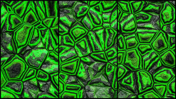 Digital Art - Zany Green Wall Abstract Triptych by Don Northup