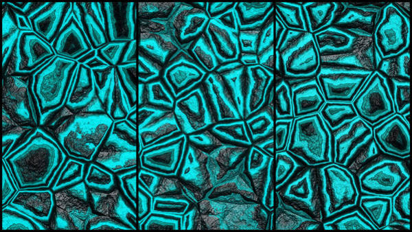 Digital Art - Zany Light Blue Wall Abstract Triptych by Don Northup