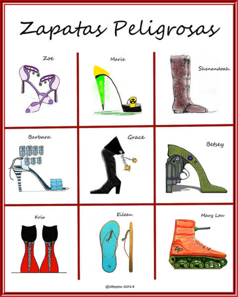Digital Art - Zapatas Peligrosas Poster by Teresa Epps