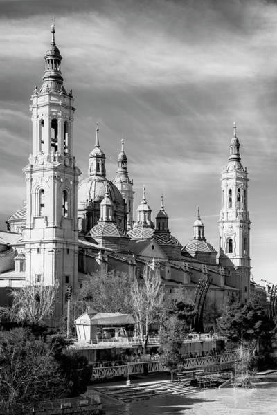 Photograph - Zaragoza Spain Cathedral Bw by Joan Carroll