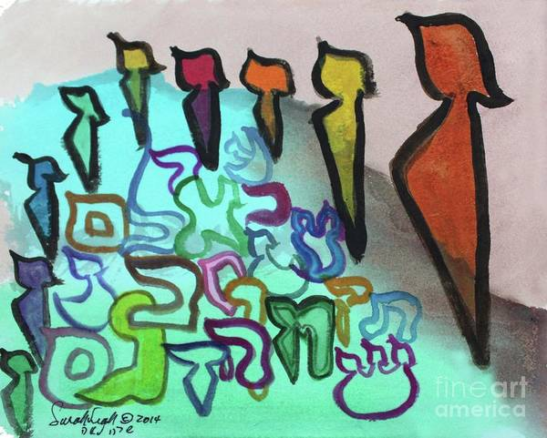 Painting - Zayins Protecting The Flock  Ab24 by Hebrewletters Sl