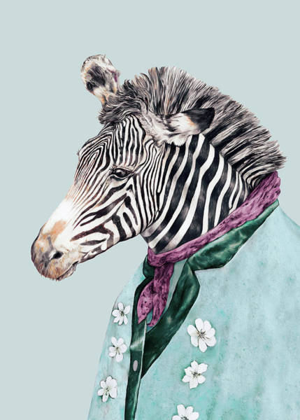 Animals In Clothes Wall Art - Painting - Zebra Blue by Animal Crew
