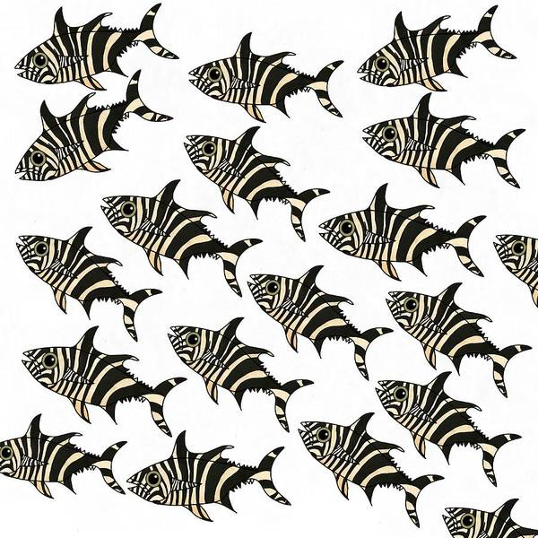 Drawing - Zebra Fish 7 by Joan Stratton