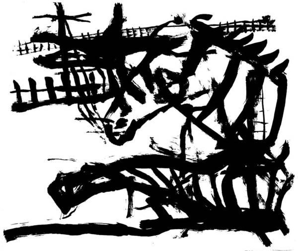 Wall Art - Drawing - Zebra Jumping by Artist Dot