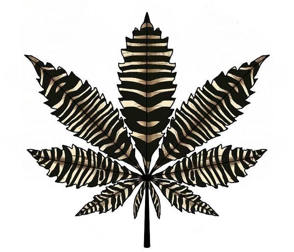 Drawing - Zebra Pattern Marijuana Leaf 1 by Joan Stratton