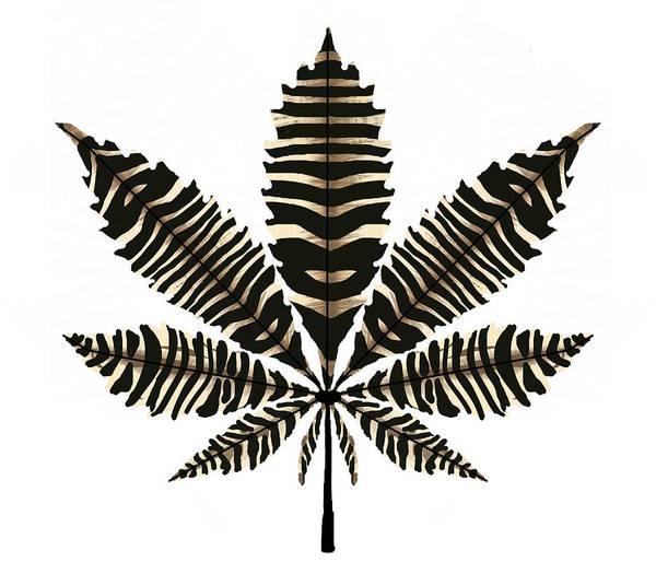 Drawing - Zebra Pattern Marijuana Leaf 2 by Joan Stratton