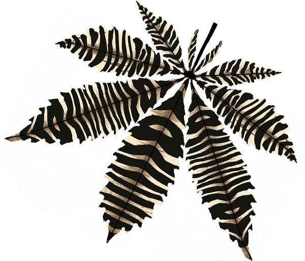 Drawing - Zebra Pattern Marijuana Leaf 3 by Joan Stratton