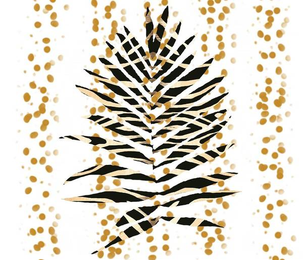 Drawing - Zebra Pattern Palm Leaf With Gold by Joan Stratton
