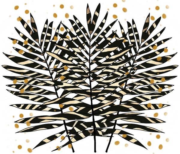 Digital Art - Zebra Pattern Palm Leaves With Gold 2 by Joan Stratton