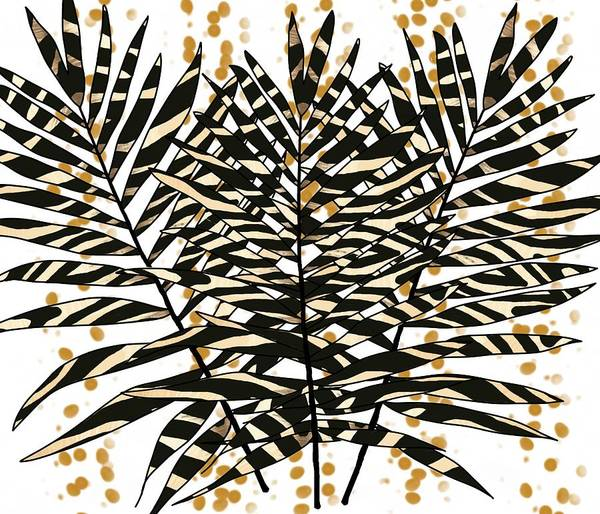 Drawing - Zebra Pattern Palm Leaves With Gold by Joan Stratton