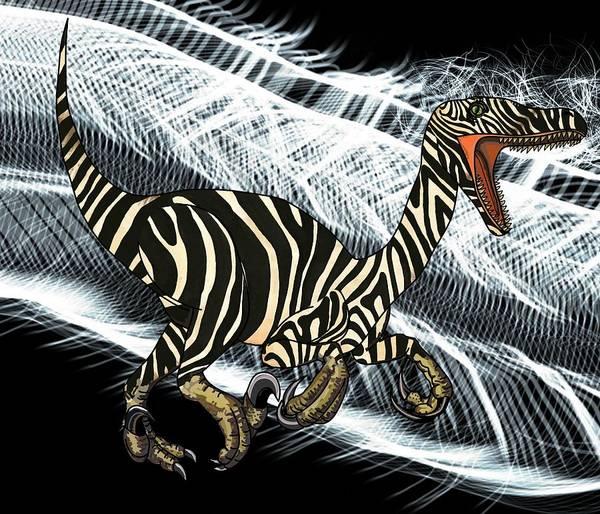 Drawing - Zebra Raptor Flash by Joan Stratton