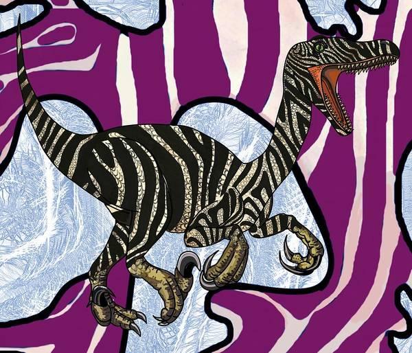 Drawing - Zebra Raptor In Cave by Joan Stratton