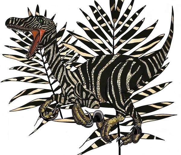Drawing - Zebra Raptor In Palms by Joan Stratton