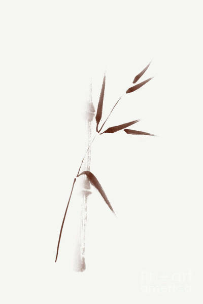 Single Leaf Mixed Media - Zen Design Of A Single Brown Bamboo Stalk And A Branch With Leav by Awen Fine Art Prints