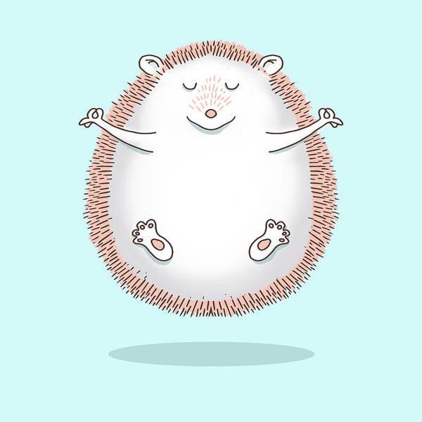Hippy Digital Art - Zen Hedgehog Meditating by Laura Ostrowski