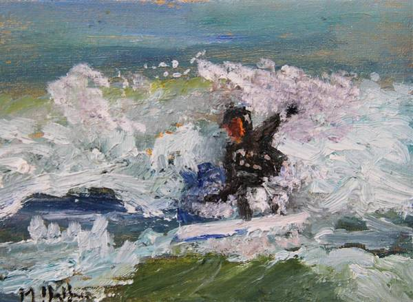 Painting - Zen Surfing, One With The Wave by Michael Helfen
