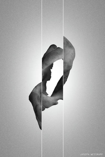 Photograph - Zero Black - Surreal Abstract Elephant Bone Collage With Lines by Joseph Westrupp