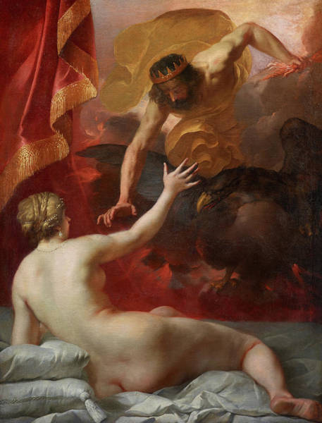 Crone Wall Art - Painting - Zeus And Semele by Jacques Blanchard