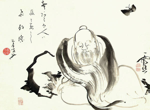 Wall Art - Painting - Zhuang Zi Dreaming Of A Butterfly  by Ike no Taiga