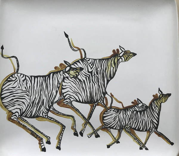Ceramic Art - Zibras Of Africa by Sima Amid Wewetzer