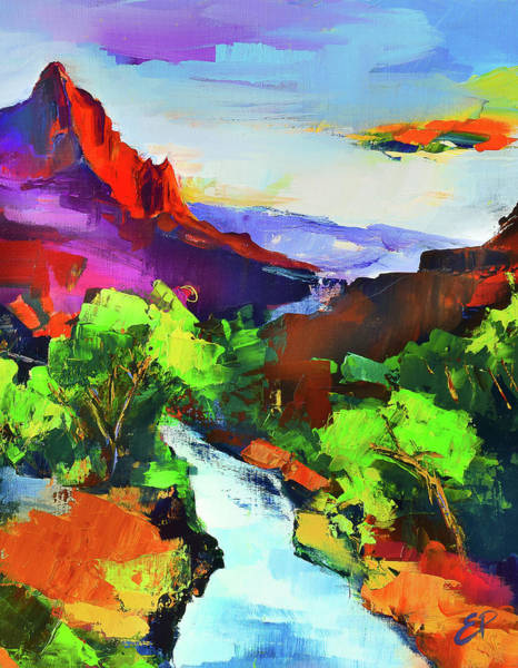 Zion Painting - Zion - The Watchman And The Virgin River by Elise Palmigiani