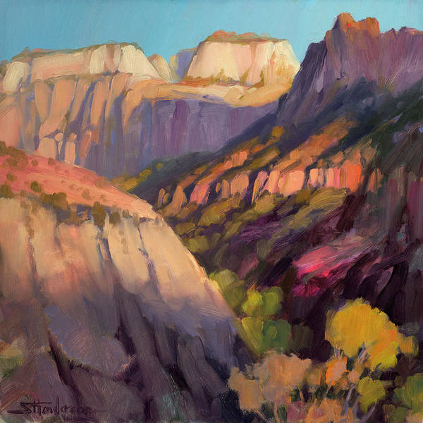 Zion Painting - Zion's West Canyon by Steve Henderson