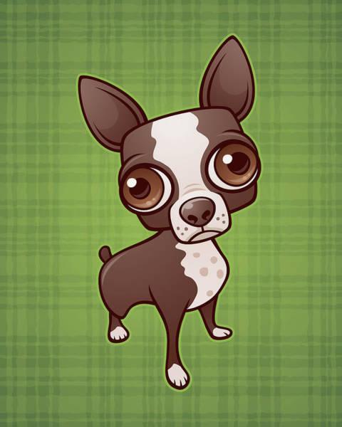 Terrier Digital Art - Zippy The Boston Terrier by John Schwegel