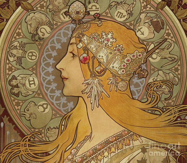 Wall Art - Painting - Zodiac, 1896  by Alphonse Marie Mucha