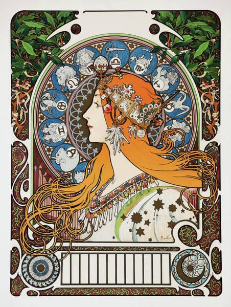 Alfons Mucha Painting - Zodiac - Digital Remastered Edition by Alfons Maria Mucha