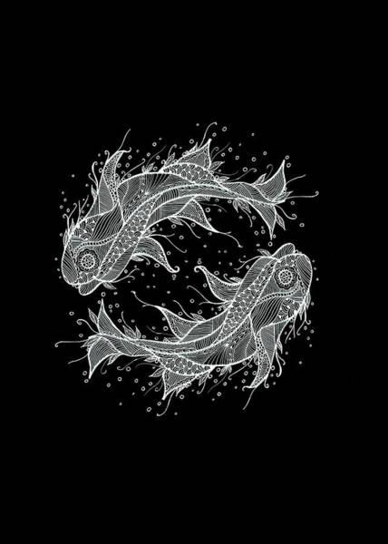 Mixed Media - Zodiac Fish Circle by Sebastian Grafmann