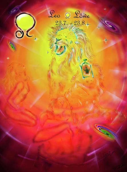 Wall Art - Mixed Media - Zodiac Sign Leo  2 by Walter Zettl