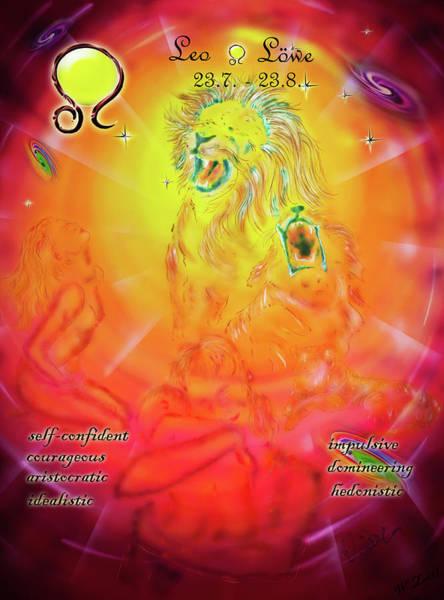 Wall Art - Mixed Media - Zodiac Sign Leo  3 by Walter Zettl