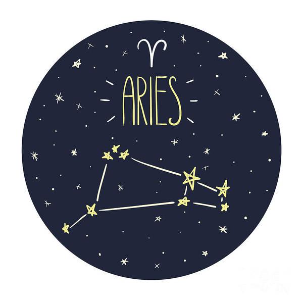 Wall Art - Digital Art - Zodiac Signs Doodle Set - Aries by Radiocat