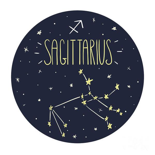 Wall Art - Digital Art - Zodiac Signs Doodle Set - Sagittarius by Radiocat
