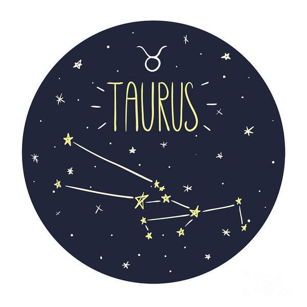 Wall Art - Digital Art - Zodiac Signs Doodle Set - Taurus by Radiocat