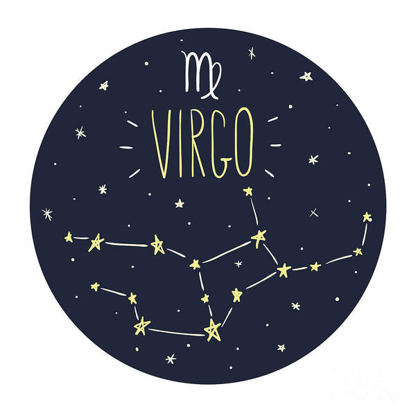 Wall Art - Digital Art - Zodiac Signs Doodle Set - Virgo by Radiocat