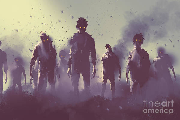 Wall Art - Digital Art - Zombie Crowd Walking At Night,halloween by Tithi Luadthong
