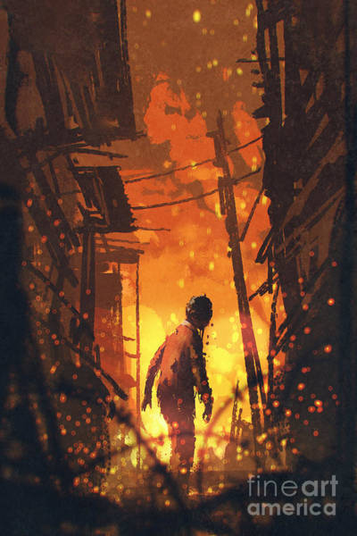 Ashes Digital Art - Zombie Looking Back With Burning City by Tithi Luadthong