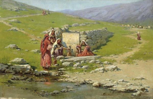Wall Art - Painting - zommer, richard karlovich - At the Well by Celestial Images