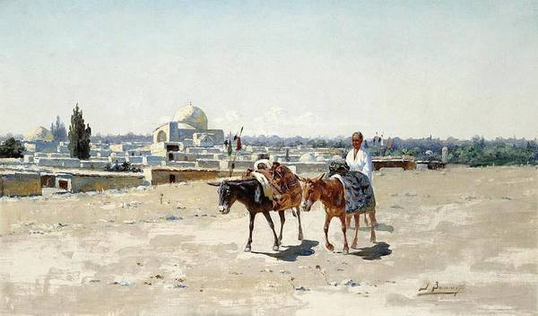 Wall Art - Painting - zommer, richard karlovich - Going to the Market by Celestial Images