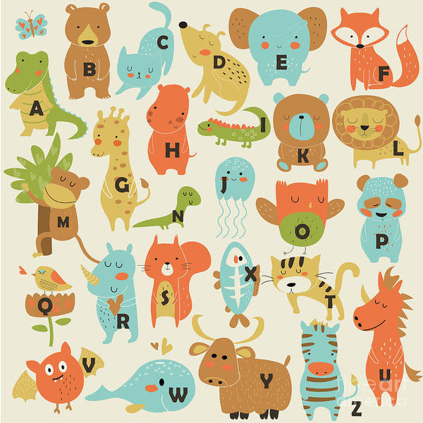 Wall Art - Digital Art - Zoo Alphabet With Cute Animals In by Kaliaha Volha