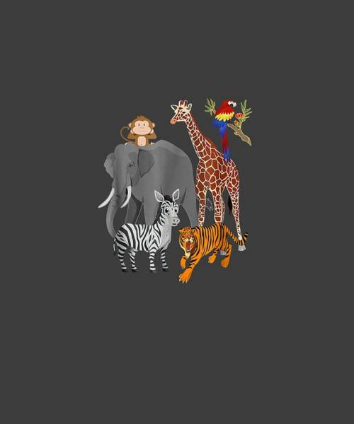 Wall Art - Digital Art - Zoo Animals Shirt Wildlife Birthday Party A Day At The Zoo by Unique Tees